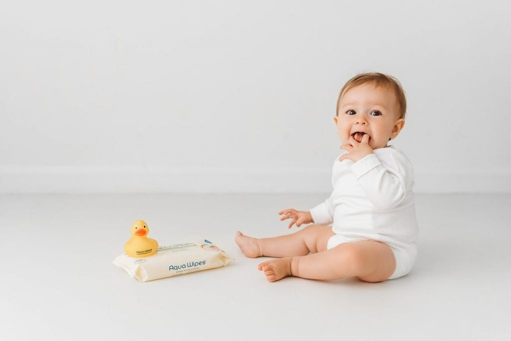 Baby Aqua Wipes pack and toy duck